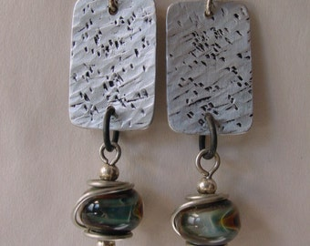 Handcrafted Jewelry Upcycled Dangle Earrings Recycled Mixed Metals and Boro Glass. RCE-11