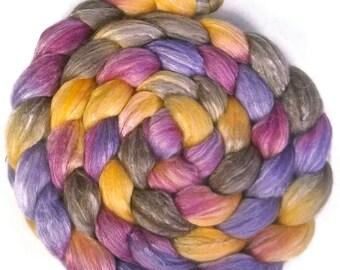 Handpainted Merino Bamboo Silk Roving - 4 oz. CROCUS - Spinning Fiber