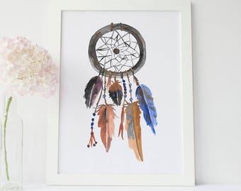 Dream Catcher Print, Boho Print Tribal Print Native American Art, Dream Catcher Art, Dreamcatcher Print, Watercolor Art, Feather Nursery Art