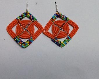 ON SALE African earrings, Orange earrings, Boho earrings,  Elegant earrings, Colorful earrings, Gift for her, Drop earrings, Moms gift