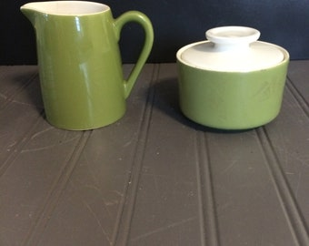 Vintage Avocado Green and White Sugar and Creamer Set Mid Century Kitchen