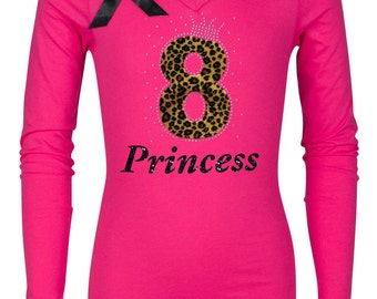 8th Birthday Hot Pink Cheetah Shirt Black 8 Rhinestone Number Faux Fur Eight Leopard Hair Bow Black Tutu Birthday Tween Girl Party
