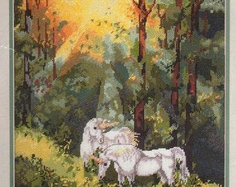 Rare CHANGING LIGHT Needlepoint Kit - Candamar Designs Kit Design - Fantasy, Magic, Mythical, White, Unicorn, green, forest, light, sunlight