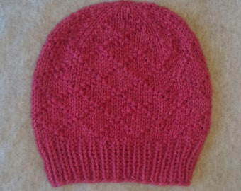 Toddler/child/small adult hand knitted red winter beanie hat