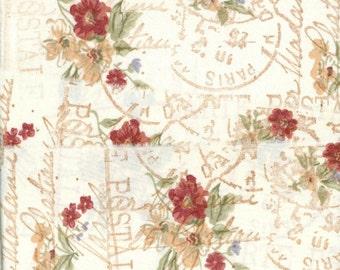 french carte postal floral ribbon hand stamped trim craft Muslin dark pink floral on cream 3.5 wide c772