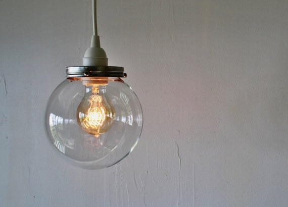 Crystal ball pendant lamp hanging light with a clear round