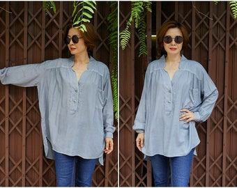 Oversize Drop Shoulder Long Cuff Sleeve Deep Neck Blue Gray Light Cotton Mix Rayon Front & Back Gather Women Top Blouse Tunic With 1 Pocket