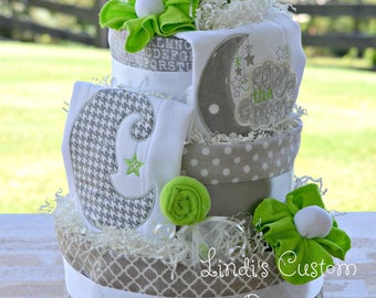 Over the Moon Diaper Cake, Nursery Rhyme Diaper Cake Table Centerpiece, Neutral Baby Shower Diaper Cake, Wynken Blyken and Nod Inspired