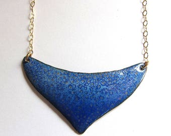 Large blue moon crescent necklace Royal blue enamel and gold bib necklace Artisan one of a kind jewelry
