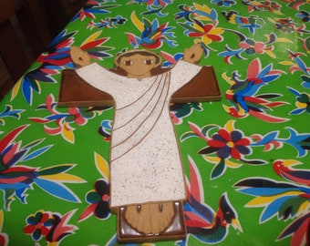 Vintage St. Andrews hand made ceramic wall plaque-  The risen Christ