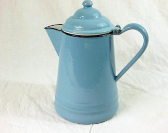 Blue Enamelware Coffee Pot, Blue Enamel Kettle, Vintage Coffee Pot
