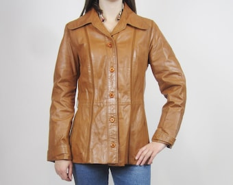 vintage 70s 80s Genuine tan light brown leather jacket size S M