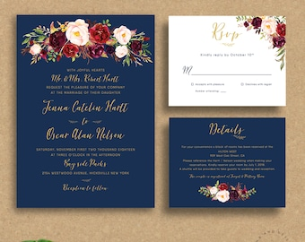 Navy Wedding Invitation, Printable Wedding Invitation Set, Marsala Burgundy Invitations, Bohemian Floral Gold, Fall Winter - Jenna