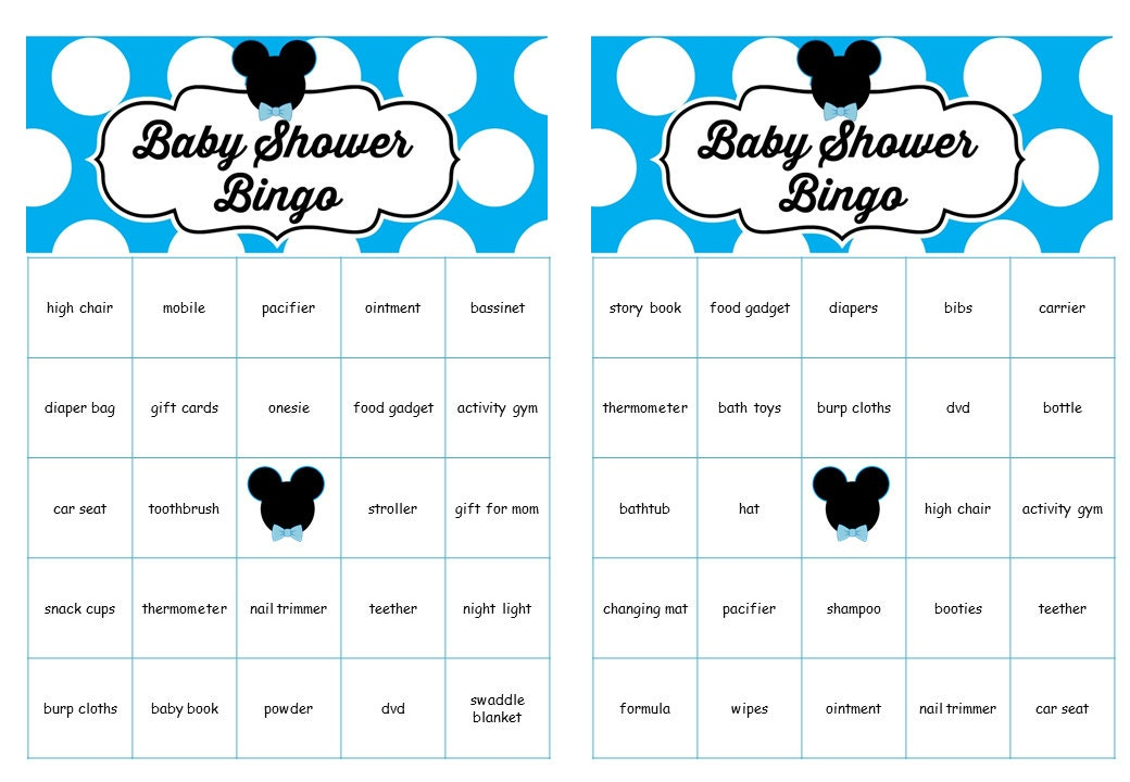 Mickey mouse baby shower bingo cards prefilled words mickey zoom solutioingenieria Choice Image