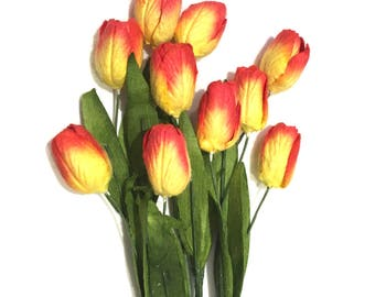 Yellow And Red Mulberry Paper Tulips Tul004