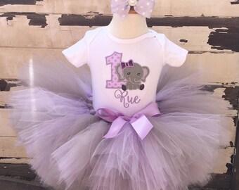 Elephant Tutu Outfit, 1st Birthday Tutu Set, Lavender Purple & Grey, Personalized Bodysuit, Sewn Tutu, Headband, Baby Girl Cake Smash Outfit
