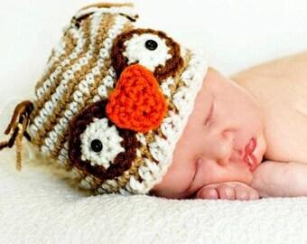 Child Hat Easy CROCHET PATTERN in 4 sizes OWL Striped Beanie