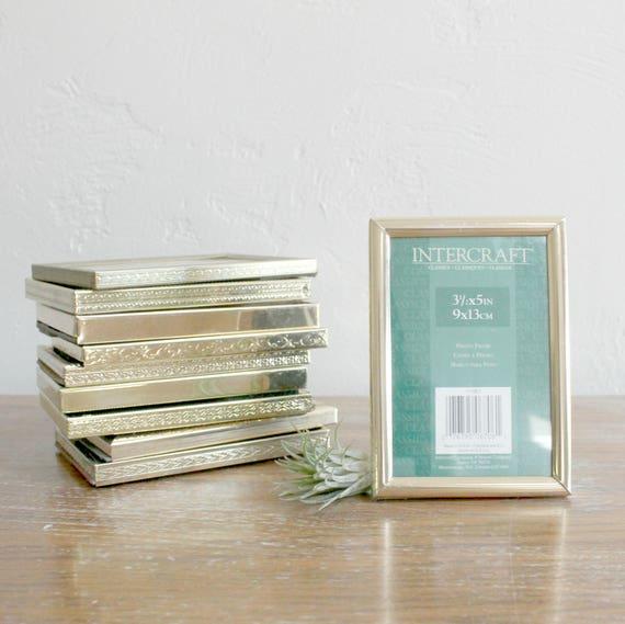 5 Vintage Gold Frames, Set of 3x5 Frames, Wedding Table Decor ...