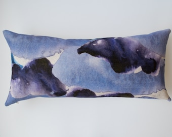Purple Stormy Skies Abstract Watercolour Cushion | Grey and Blue | 50/50% cotton/linen | Landscape 60 x 30cm | with Curled Duck Feather Pad