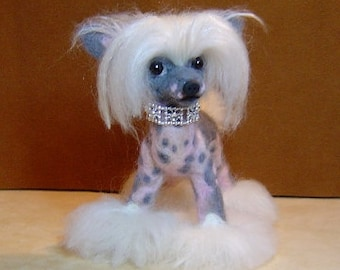 Chinese Crested  pet portrait Custom needle felted  miniature dog sculpture