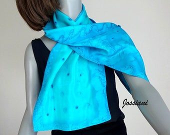 Teal Turquoise  Cyan Cerulean Hand Painted Silk Scarf, Reversible 2 Layers Silk Hand Dyed, Handmade by Artist Jossiani
