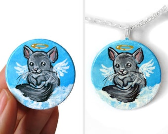 Chinchilla Art, Portrait Necklace, Guardian Angel Jewelry, Pet Keepsake, Hand Painted Wood Pendant, Pet Painting, Memorial Gift for Her