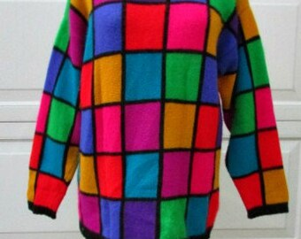vintage 80s multi color color block turtleneck  sweater L b40 rafaella angora so soft