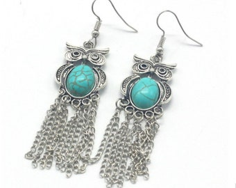 Boho earrings, Tribal earrings, drop earrings, large earrings, turquoise earrings, statement earrings,  dangle earrings