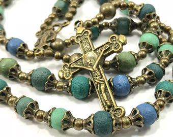 Men's Rosary Men's Bronze Rosary Blue Green Rosary Necklace For Men Catholic Rosary Men's Prayer Beads Communion Baptism Confirmation Gift