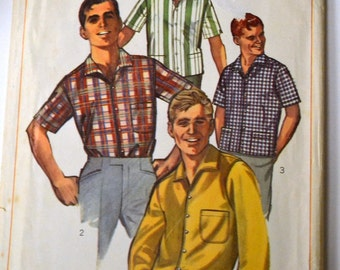 Vintage Sewing Pattern Simplicity 6283  Men's Shirts Neck 16 Chest 42 Complete