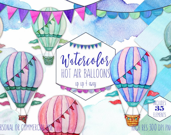 HOT AIR BALLOON Clipart Commercial Use Clip Art Watercolor Hot Air Balloons Hand Drawn Buntings Clouds & Watercolour Sky Background Papers
