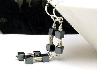 Sterling Silver and Black Minimalist Geometric  Dangle  Earrings  Urban  Drop For Her Under 120 US Free Shipping Gift Wrap
