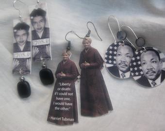 Black History earrings, Civil Rights earrings, Harriet Tubman, Rosa Parks, MLK, Dr. Martin Luther King Jr.,