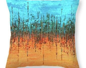 Abstract Art Throw Pillow, Orange Blue Pillow, Modern Art decorative pillow, Orange brown decor, Abstract bed Pillow Blue Accent Pillow