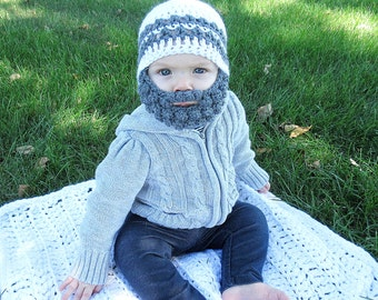 Custom Beard Crochet Hat, Bobble beard hat, Baby beard hat, Infant beard hat