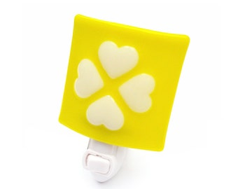 Night Light, Yellow & White Hearts, Babys Room Nursery, Sunny, Bright, Cheerful, Large