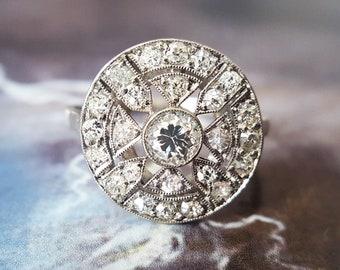 Art Deco Engagement Ring | Vintage Engagement Ring | Diamond Engagement Ring: Old European Cut Diamond Halo Engagement Ring in Platinum