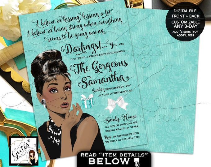 Breakfast at Bridal Shower Invitation Audrey Hepburn invites, turquoise blue white bow ribbon, 5x7 double sided. PRINTABLE