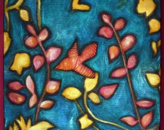 Oil on canvas Bird on decorative vegetable