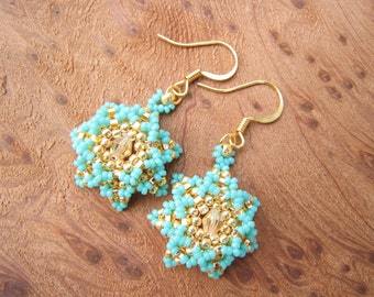 Turquoise Gold with Swarovski Crystal, Beaded Sun Burst Earrings, Stitched by hand, Sparkly Beaded Baubles,