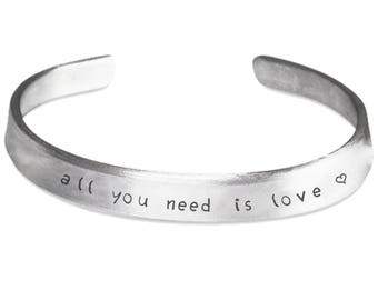 All You Need Is Love Cuff Stamped Bracelet | Pure Aluminum