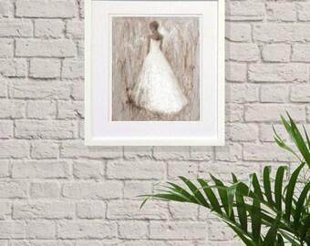 "Art print,original oil painting, Giclee print, contemporary portrait, fashion,dress,wedding,gift,bride,""Translucent Moment"""