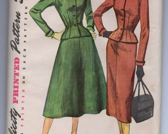 "1950's Simplicity Two-piece Suit with Skirt Pattern - UNCUT - Bust 36"" - No. 4796"