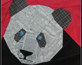 Panda Bear- A Foundation Paper Pieced Quilt Pattern- 12 Inch