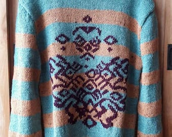 Striped sweater with embroidered motif-size M/L