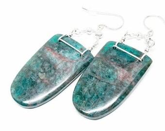 25% OFF Blue Apatite Gemstone, Sterling Silver Dangle Drop Earrings, Aqua Blue Statement Earrings, Wire Wrapped Earrings, Free Shipping, E18