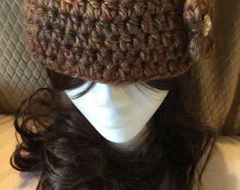 Golden Brown with Specks of Color Ear Warmer Headband with Flower