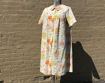 Vintage 1950s Perma-Prest Koffee Kasual Sears Floral House Dress / Summer Beach Dress / Nightgown