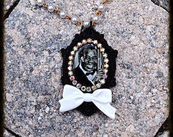 Louis Armstrong Crystal Cameo Necklace