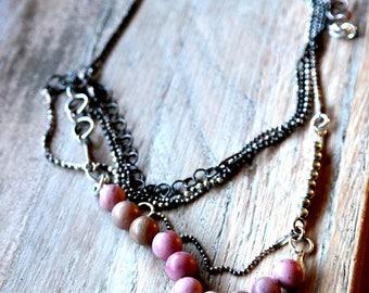 Pink Jasper 0.6 Silver Necklace, Ball Chain, Raw Silver,Multi Strand